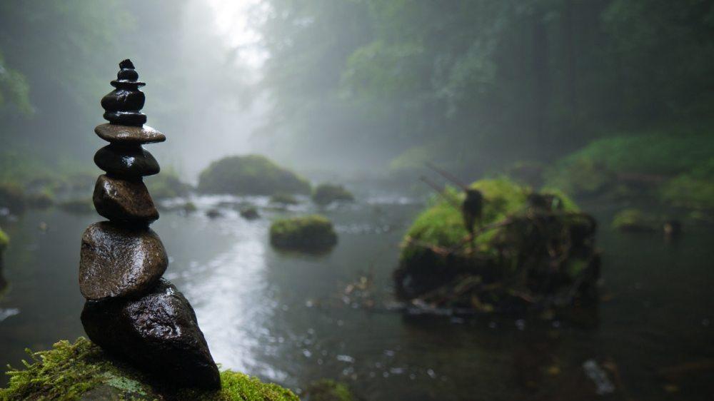 River stones wet