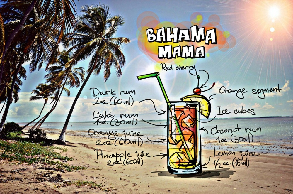 bahama mama drink beach sun trees