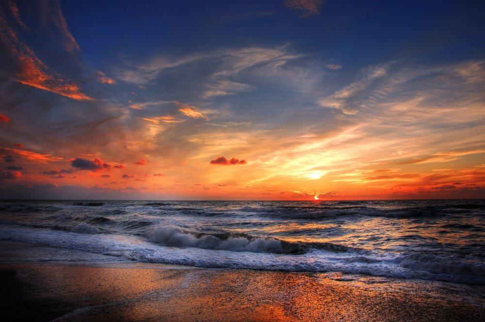 beach ocean sunset water