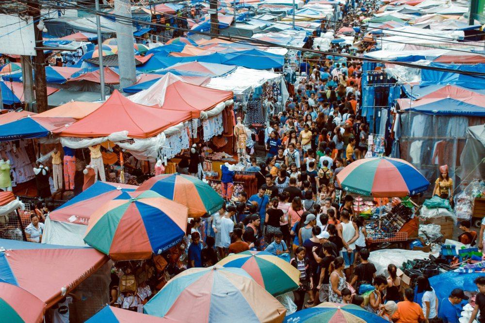 crowd shopping people mass retail bazaar